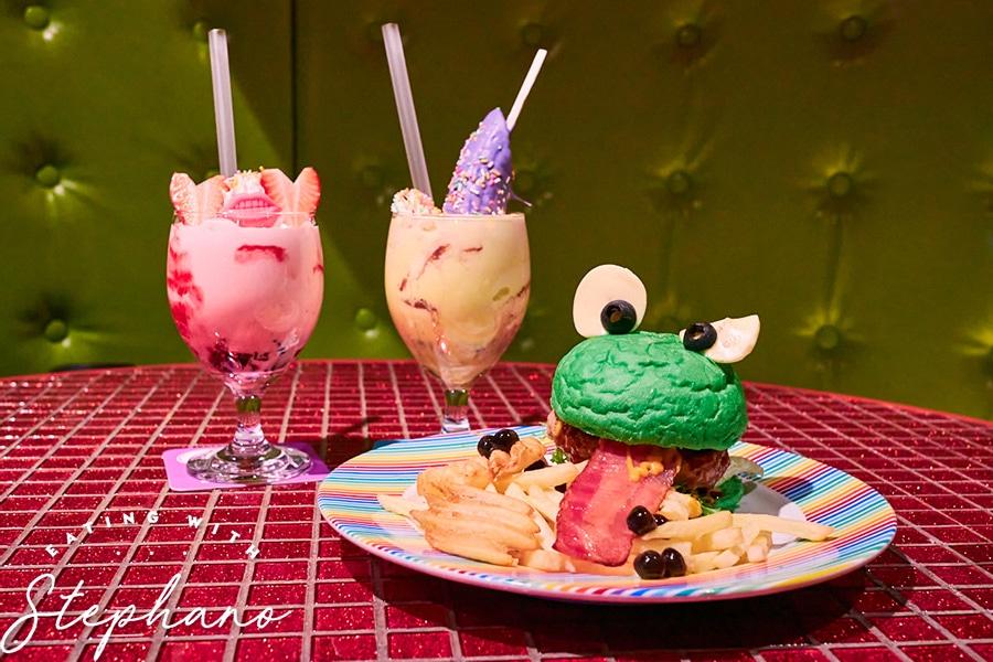 kawaii monster cafe burger and drinks