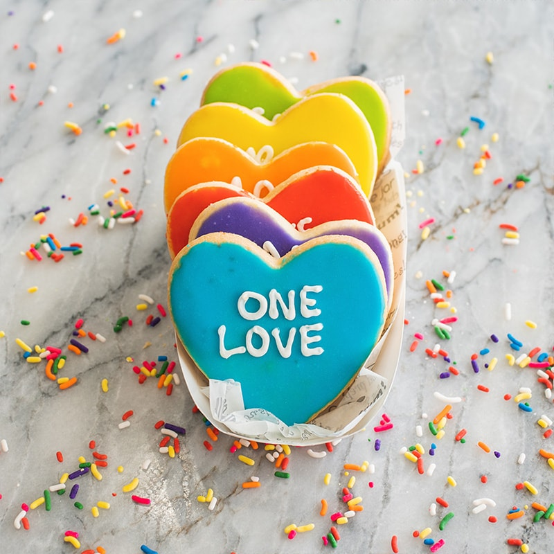 colorful heart one love cookies from Michael's Cookie Jar
