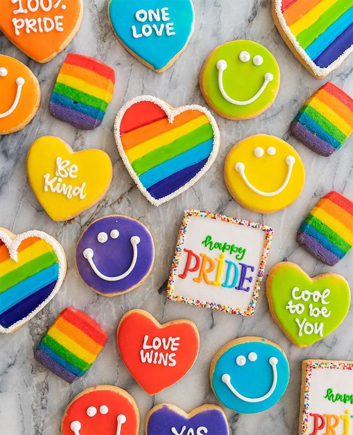 assorted pride cookies from Michael's Cookie Jar